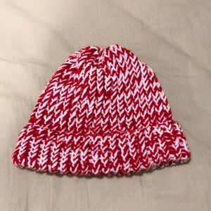 Red and white knit beanie
